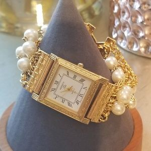 Kenneth Jay Lane Faux Pearl Chain Watch